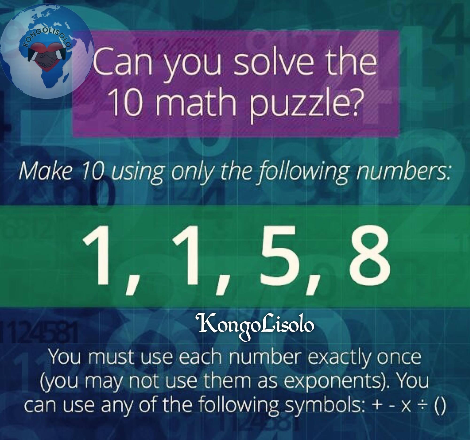 Pouvez-vous résoudre, le casse-tête 10 de maths ?