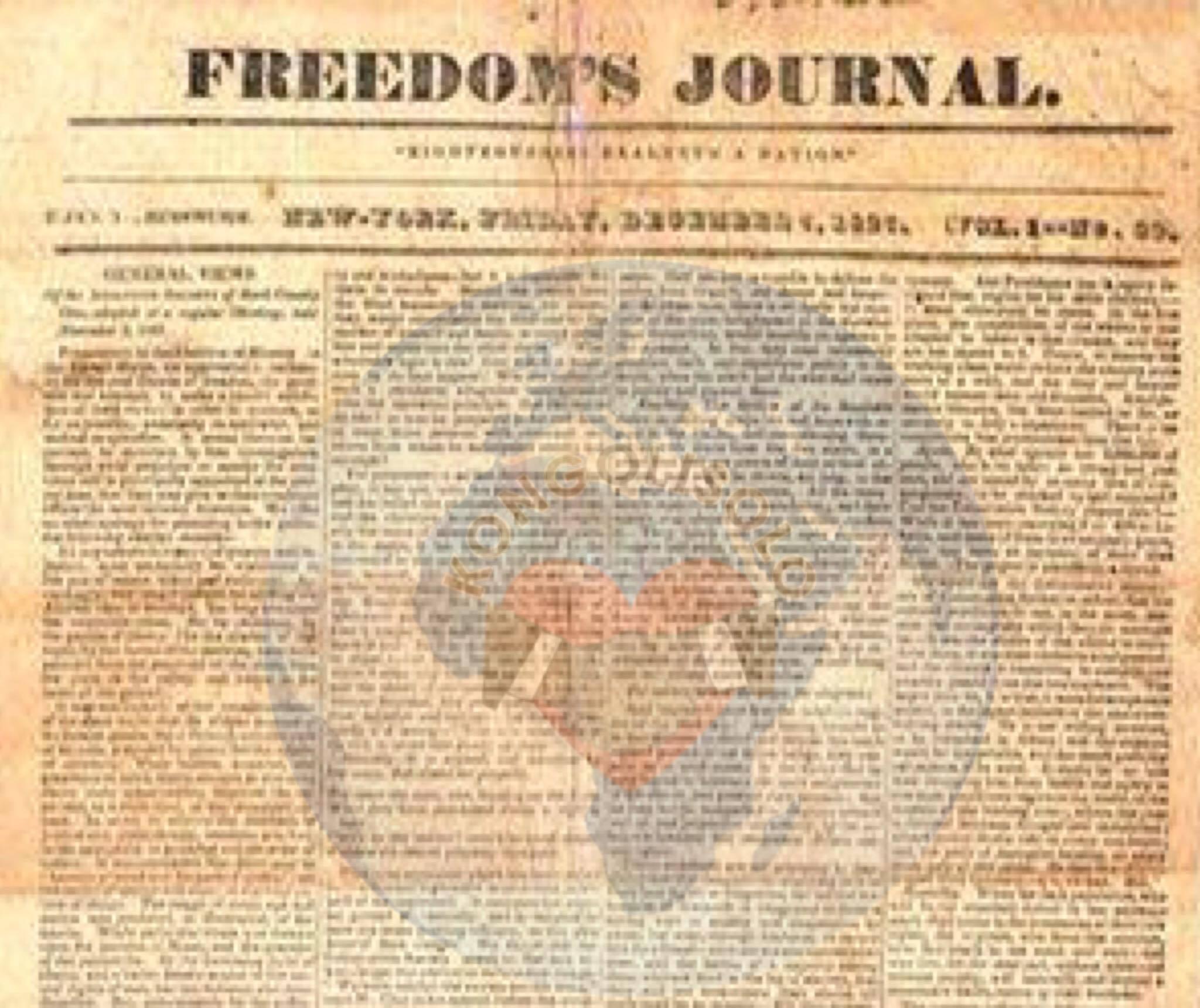 Le Freedom's Journal est le premier journal dirigé et écrit par des Afro-Américains à avoir été publié aux États-Unis en 1827