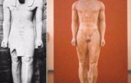 Quand les Grecs, plagiat l'art africain bien plus tard : comparaison de Ramses II datant de -1150 et d'une statue Kouros -500, cette date correspond au début de l'apprentissage des sciences par les grecs en terre égyptienne