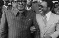 "The two spies of the West: 1979 Mobutu Sese Seko from Zaire and Omar Bongo from Gabon share a joke at the sixth Franco-African summit in Kigali, Rwanda ""But what was this joke that made them laugh so much?"" How stupid are these peoples whom we lead to the point of leaving us in power for a long time? Death laughing"