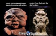 "The first is a sculpture of a Yoruba figure, called: child of Obatala ""Obatala is an Orisa Yoruba and the second is the Neter Bès of the Kamits whose same model also exists in Kongo and all three wear the same skull necklace"""